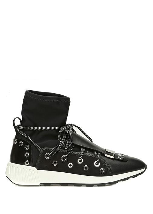 Siyah Çorap Formlu Troklu Kadın Deri Sneaker