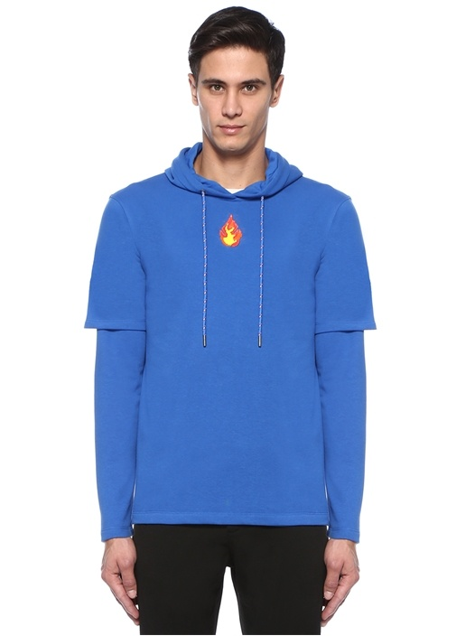 Lacivert Kapüşonlu Nakışlı Kol Detaylı Sweatshirt