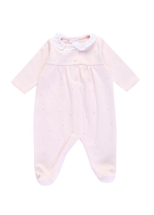 Pembe Bebe Yaka Taş Detaylı Kız Bebek Tulum