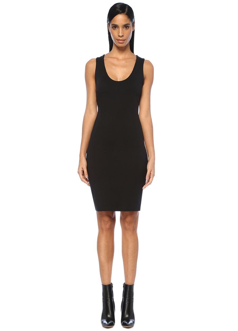 The Row Borelle Siyah Kolsuz Midi Streç Elbise