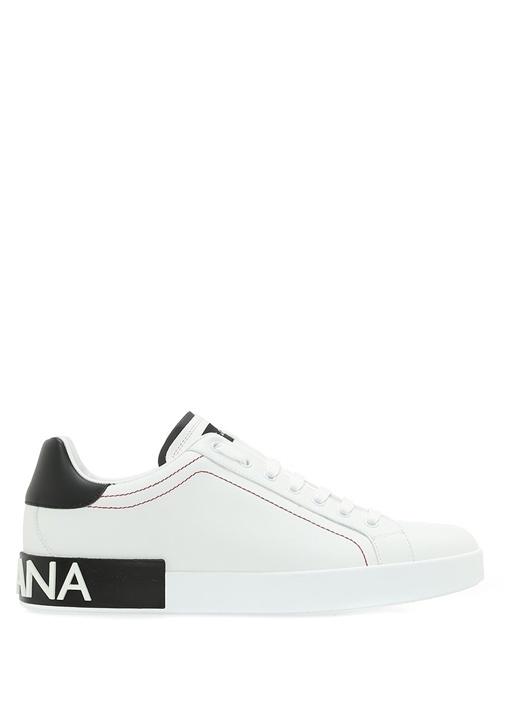 Dolce&Gabbana Beyaz ERKEK  Siyah Beyaz Logolu Erkek Deri Sneaker 505211 Beymen