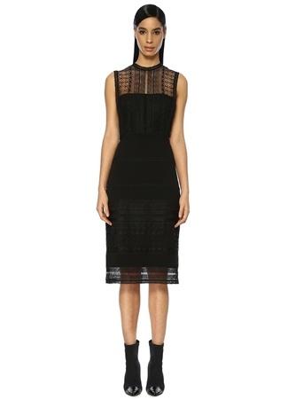 Siyah Güpür Dantelli Kolsuz Midi Elbise