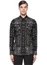Siyah İngiliz Yaka Desenli İpek Gömlek