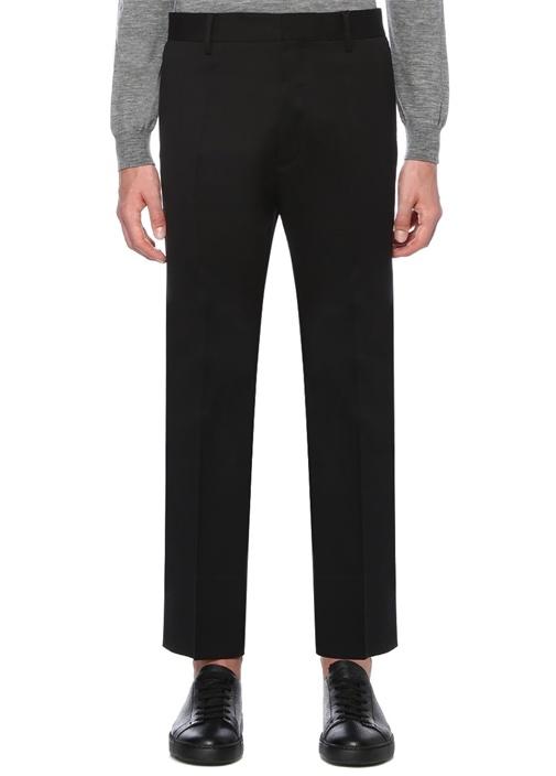 Cropped Flare Fit Siyah Yüksek Bel Pantolon
