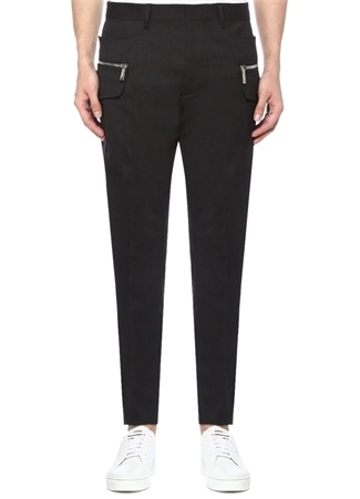 Siyah Yüksek Bel Dar Paça Yün Pantolon