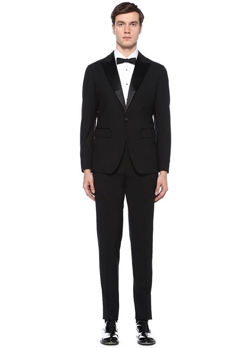 Siyah Kırlangıç Yaka Yünlü Takım Elbise