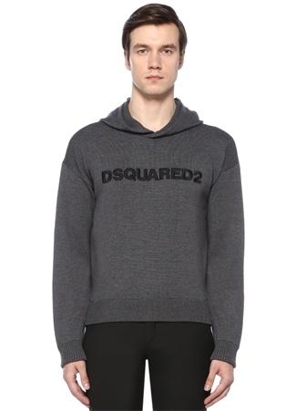 Dsquared2 Erkek Gri Kapüşonlu Örgü Dokulu Logo İşlemeliYün riko S Ürün Resmi