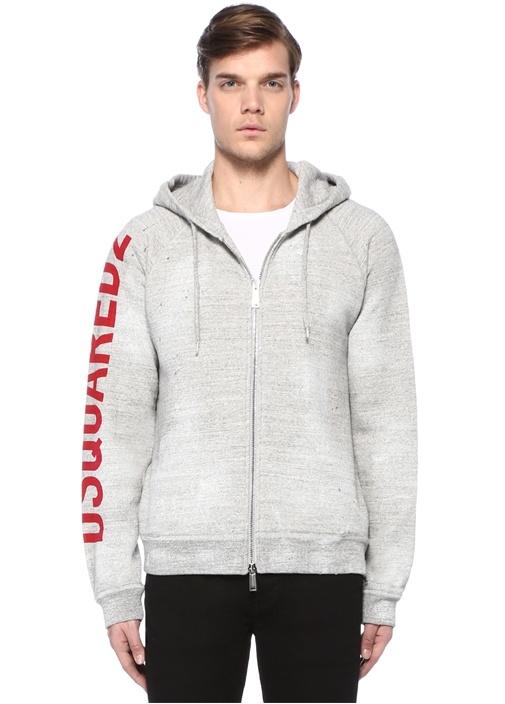 Gri Melanj Yazı Baskılı Sweatshirt