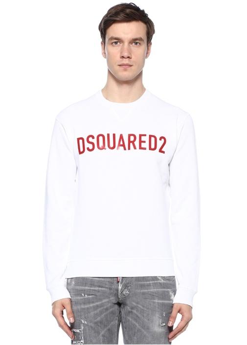 Beyaz Logo Baskılı Basic Sweatshirt