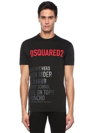 Dsquared2 Erkek Siyah Baskılı Logolu Fermuar Detaylı -shirt XL Ürün Resmi