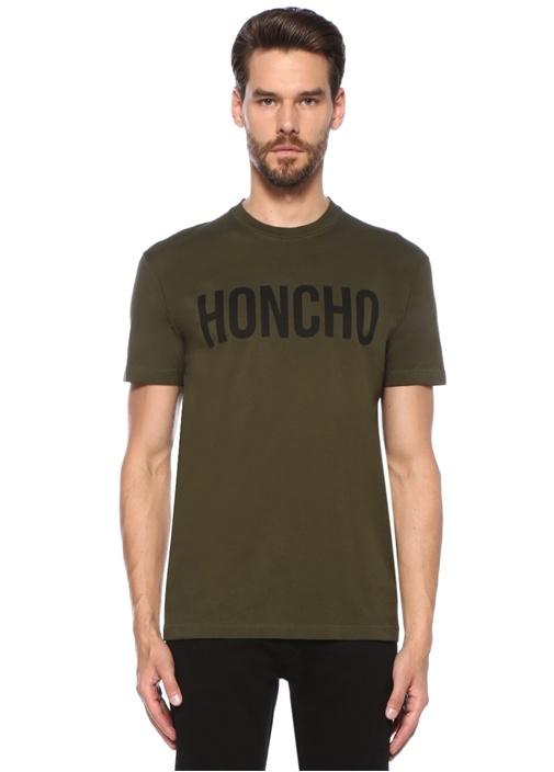 Haki Yazı Baskılı Basic T-shirt