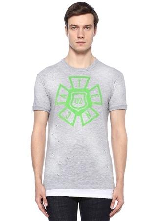 Erkek Gri Melanj Baskılı Yıpratma Detaylı Basic T-shirt XL EU