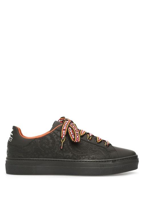 Siyah Kabartma Detaylı Kadın Deri Sneaker