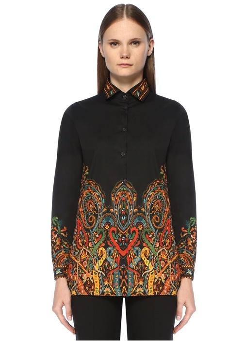 Siyah Şal Desenli Gömlek