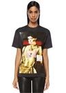 Siyah Kadın Baskılı Basic T-shirt