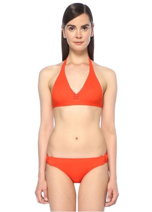 Corset Kırmızı Önü İpli Üçgen Bikini Üstü