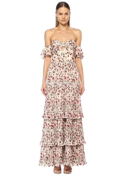 Johanna Ortız The Lady Of Shalott Omzu Açık Çiçekli Maksi Elbise – 5495.0 TL