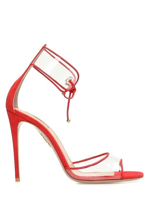 Optic Kırmızı Transparan Detaylı Kadın Sandalet