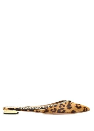 Aquazzura Kadın Sabine Kahverengi Zincir Detaylı Deri erlik 39.5 R