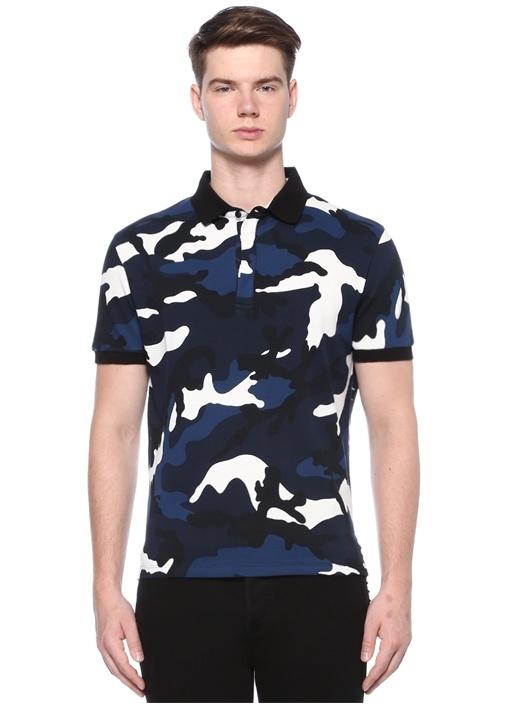 Lacivert Kamuflaj Desenli Polo Yaka T-shirt