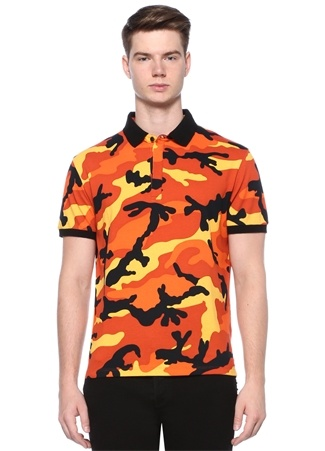 Turuncu Kamuflaj Desenli Polo Yaka T-shirt
