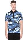 Mavi Polo Yaka Kamuflaj Desenli Dokulu T-shirt