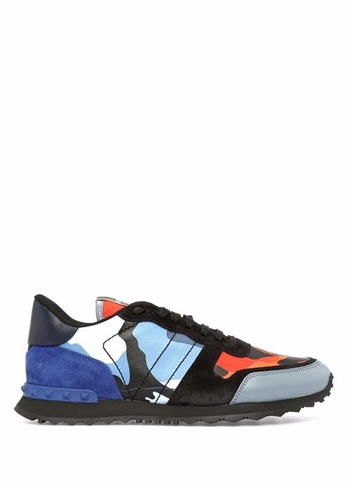 Turuncu Mavi Kamuflajlı Erkek Deri Sneaker