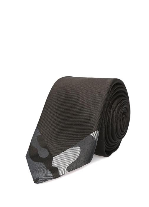 Siyah Kamuflaj Baskı Detaylı İpek Kravat