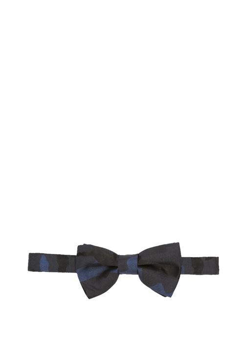 Mavi Siyah Kamuflajlı Erkek İpek Papyon