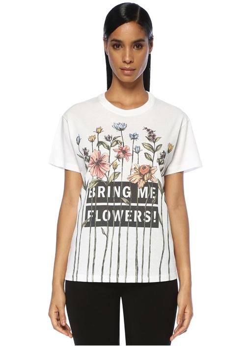 Beyaz Çiçek Baskılı Yazılı T-shirt