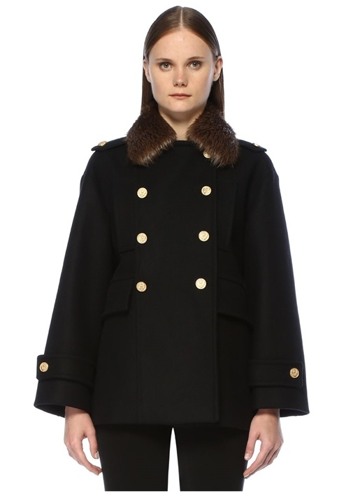 Siyah Polo Yaka Çift Sıra Düğmeli Yün Palto