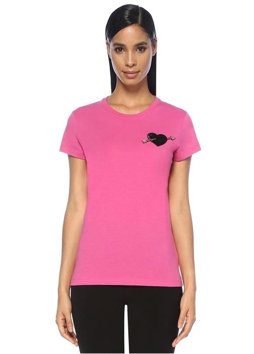 Pembe İşlemeli Kalpli Patch Detaylı T-shirt