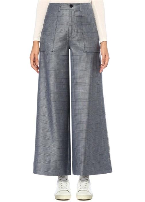 Gannı Merkel Mavi Yüksek Bel Ekoseli Taşlı İpek Pantolon – 1299.0 TL