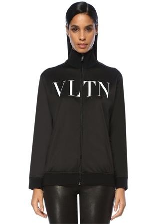 Valentino Kadın Siyah Dik Yaka Logo Baskılı Fermuarlı Sweatshirt S