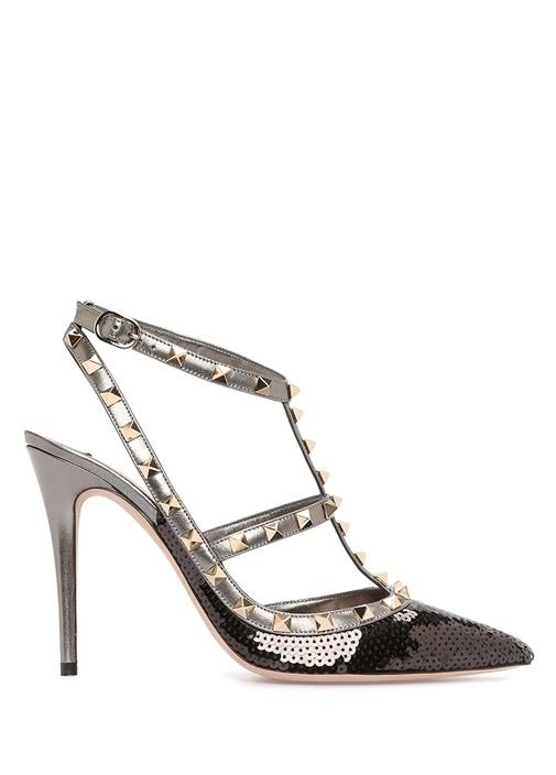 Siyah Payetli Kadın Stiletto