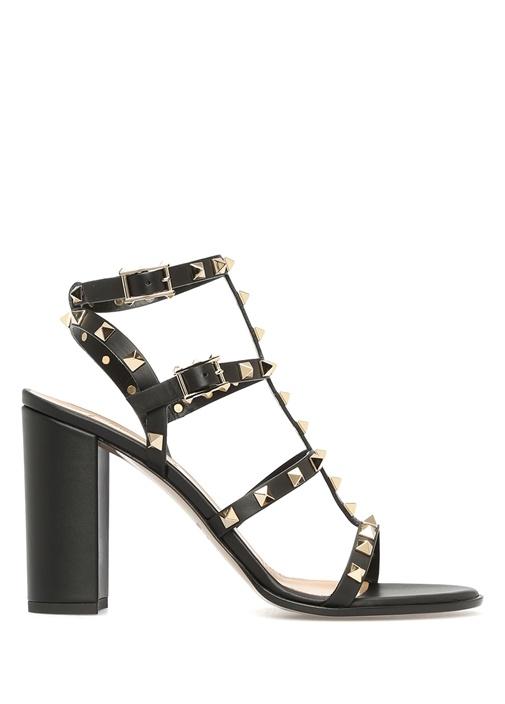 Rockstud Siyah Kadın Deri Sandalet