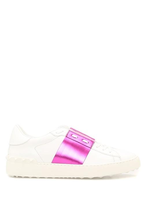 Pembe Beyaz Kadın Deri Sneaker