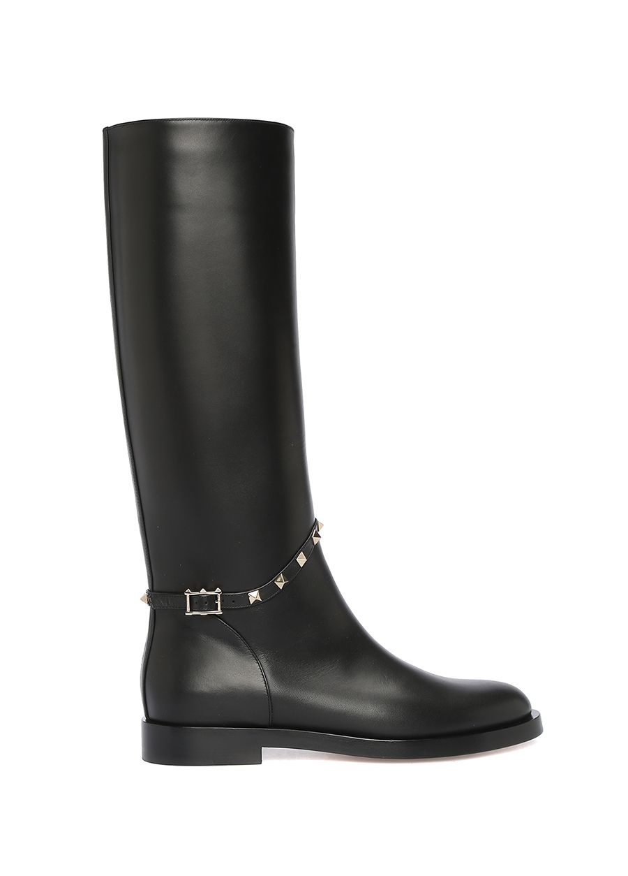 Valentino Garavani Siyah Rockstud Kadın Deri Çizme