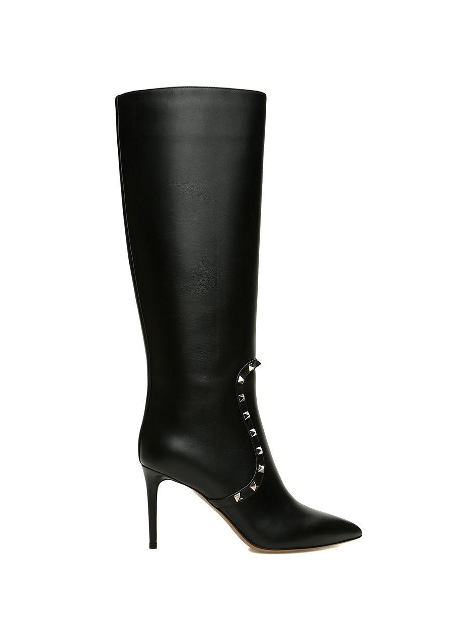 Valentino Garavani Rockstud Siyah Kadın Deri Çizme