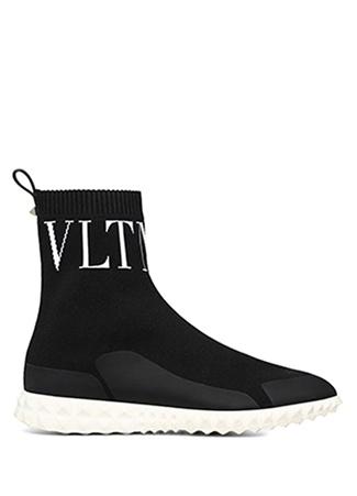 Valentino Garavani Kadın Siyah Logo Jakarlı Çorap Formlu Sneaker 40.5 EU