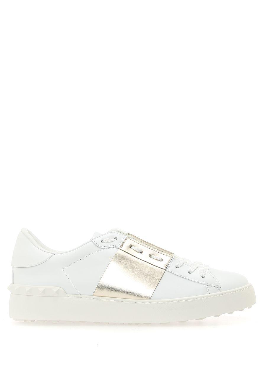 Valentino   Garavani Beyaz Logolu Kadın Deri Sneaker