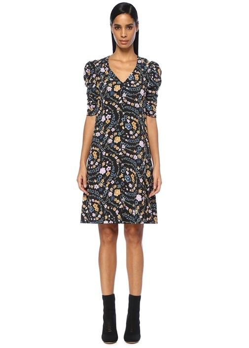 Siyah V Yaka Çiçekli Karpuz Kollu Midi Elbise