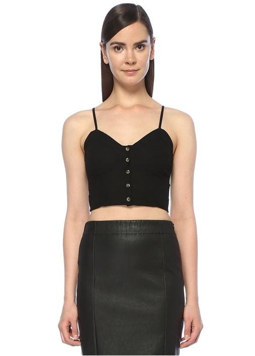 Eve Linen Siyah Önü Düğmeli Crop Keten Bluz