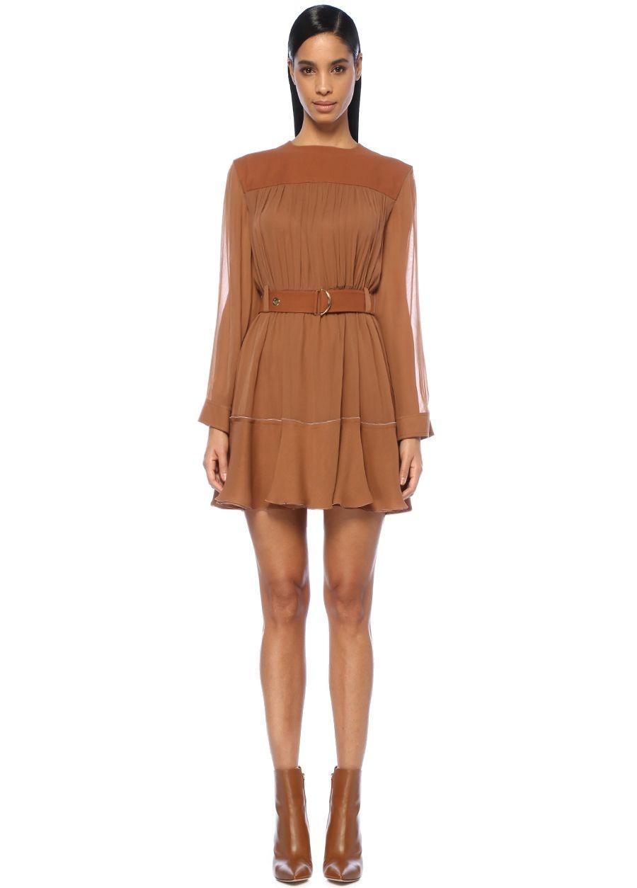 Chloe Kahverengi Kemerli Uzun Kol Mini İpek Elbise