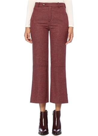 Kırmızı Ekoseli Bol Paça Crop Yün Pantolon