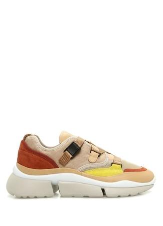 Chloe Kadın Sonnie Bej Colorblocked Süet Sneaker Altın Rengi 38 EU
