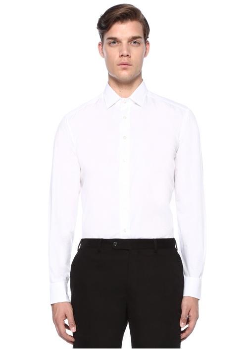 Beyaz İngiliz Yaka Kare Dokulu Gömlek