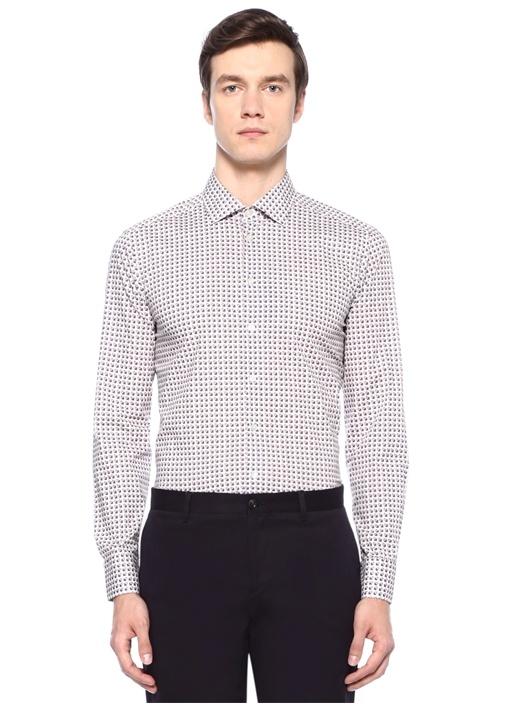Beyaz İngiliz Yaka Geometrik Desenli Gömlek