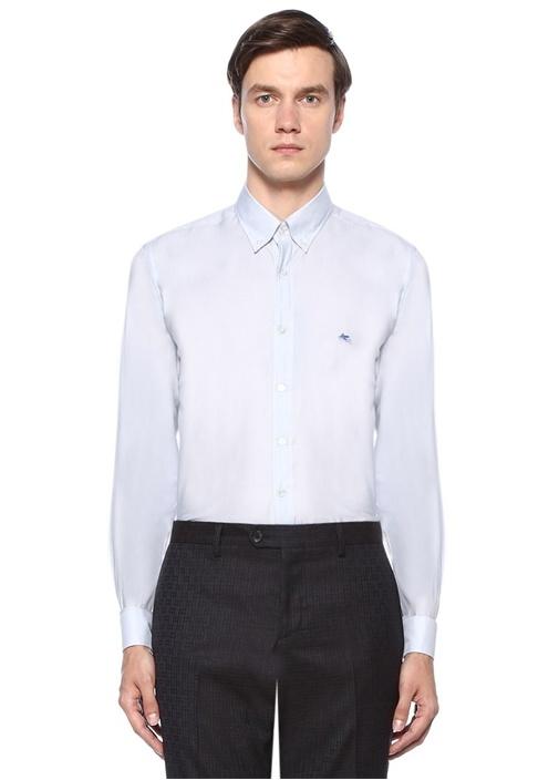Gri Düğmeli Yaka Gömlek