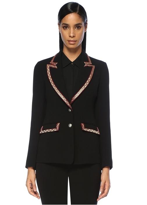 Siyah Kırlangıç Yaka Gold Şeritli Yün Ceket
